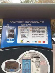 Le sms pour payer le parking